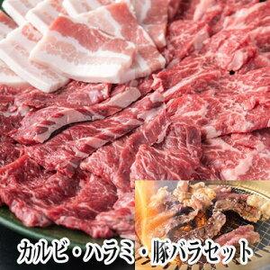 国産牛 焼肉セット 600g 200g×3 焼肉 焼き肉 BBQ 鉄板焼 キャンプ 肉 タレ漬け カルビ ハラミ 豚バラ 送料無料