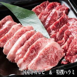 国産牛 焼肉セット 400g 200g×2 焼肉 焼き肉 BBQ 鉄板焼 キャンプ 肉 タレ漬け カルビ ハラミ 送料無料