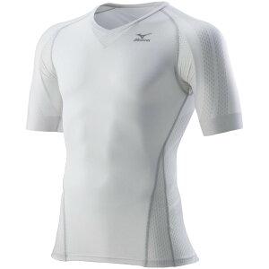 ミズノ MIZUNO BG7000T バイオギアシャツ (半袖) K2MJ7A6170 ホワイトxグレー UPF50+ 日本バドミントン ダイナモーションフィット