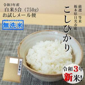 新米 無洗米 お試し 送料無料コシヒカリ 750g(5合)令和3年産 栃木県産メール便 こしひかり おこめ 買いまわり