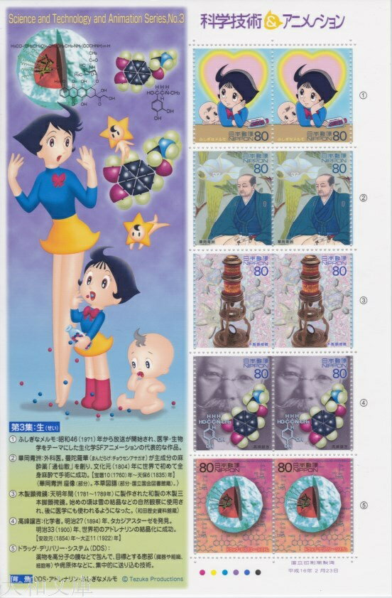 【記念切手】 「ふしぎなメルモ」(おとなのメルモ) 科学技術&アニメーションシリーズ 第3集「生」 記念切手シート 平成16年(2004年)発行【切手シート】