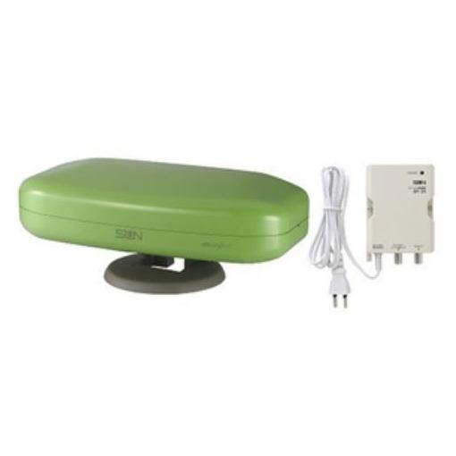 サン電子 SDA-5-2-AG 地上デジタル放送受信専用 屋外・室内兼用ブースター内蔵アンテナ (アップルグリーン)