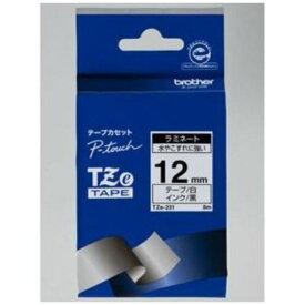 ブラザー TZe-231 ラベルライターピータッチ用 ラミネートテープ 白テープ 黒文字 幅12mm 長さ8m