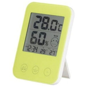 ヤザワ DO02GR 熱中症・インフルエンザ警報付き デジタル温湿度計 グリーン
