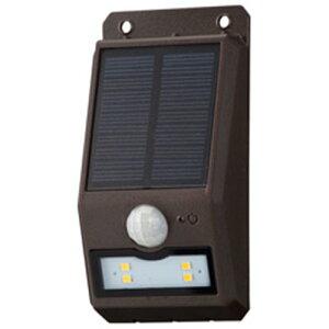 オーム電機 LS-S108FN4-T monban LEDセンサーウォールライト ソーラー 110lm 薄型ブラウン