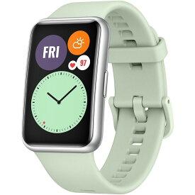 HUAWEI ファーウェイ WATCH FIT/GR Mint Green TIA-B09 スマートウォッチ 腕時計 心拍数 GPS 歩数 睡眠 血中酸素測定