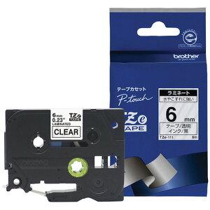 ピータッチ ラミネートテープ 透明ラベル TZe-111 [黒文字 6mm×8m]