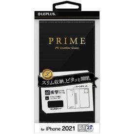 MSソリューションズ iPhone 13 薄型PUレザーフラップケース PRIME ブラック LP-IM21PRIBK