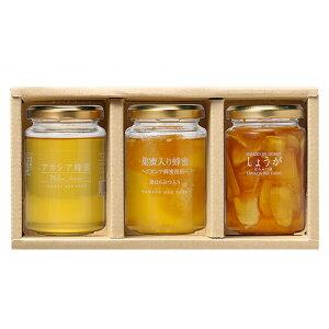 【山田養蜂場】 巣蜜入り蜂蜜ギフト<アカシア蜂蜜(ルーマニア産)/ 巣蜜入り蜂蜜 / しょうがはちみつ漬> 巣みつ はちみつ 果実漬け 食べ物 食品 健康 ギフト 贈答 プレゼント お歳暮 内