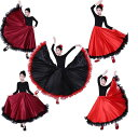 豪華子供舞台ダンススカート スペイン風 切り替え大きい裾スカート ロング丈 360°540°720°民族風タンゴダンス…