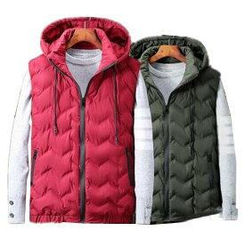 フード付きメンズダウンベスト 大きいサイズ 紳士服 中綿ベスト 綿いりベスト 3色 ミリタリージャケット 防寒着 カジュアル アウター 秋冬