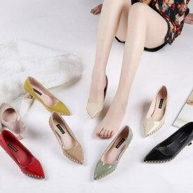 美脚 ローヒール 走れるパンプス 美脚ポインテッドトゥ 結婚式 リベット 6cm とんがり 婦人靴 光沢感 二次会 7色