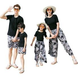 上下2点セットアップ レディース メンズ カップル 親子ペア 半袖Tシャツ+パンツ ガウチョパンツ リボン ハーフパンツ 旅行 リゾート ハワイ風 子供 ワイドパンツ
