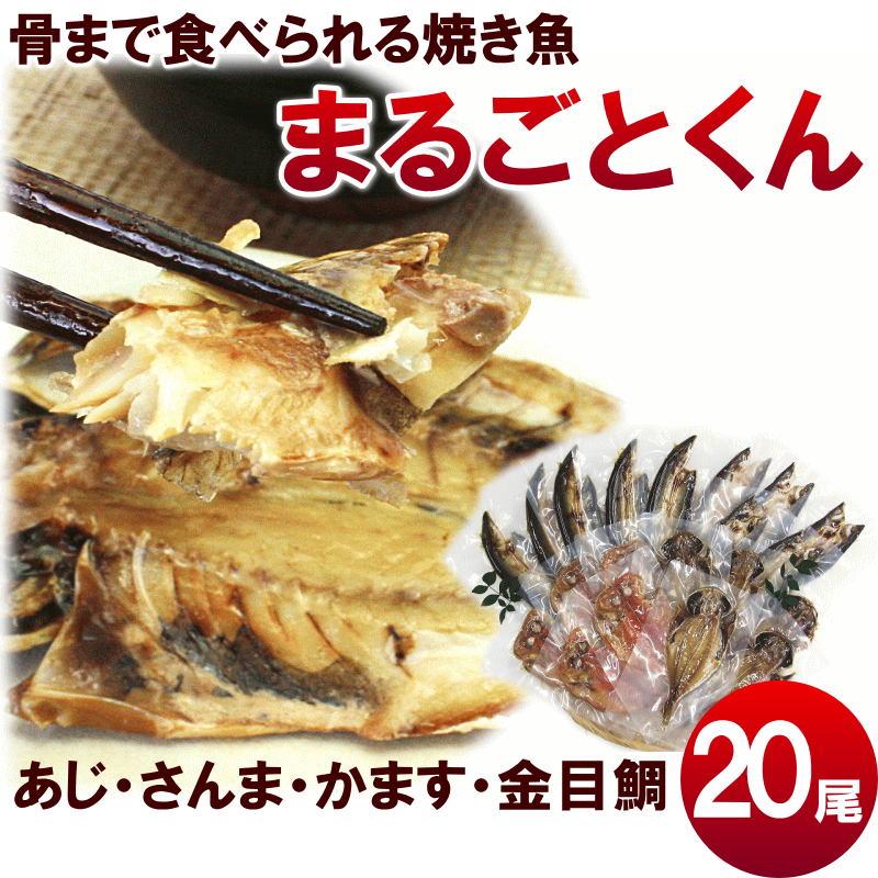 ひもの【送料無料】干物の焼き魚【まるごとくん】人気セット4種20尾 (あじ、赤かます、金目鯛、さんま)