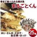 ひもの【送料無料】干物の焼き魚【まるごとくん】人気セット5種25尾 (あじ、赤かます、金目鯛、さんま、ほっけ)