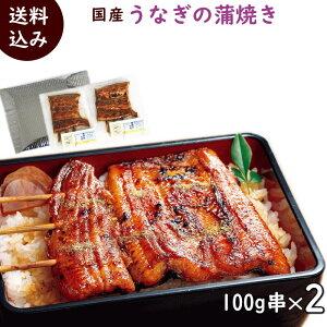 簡単調理 国産 うなぎの蒲焼 100g串×2袋、タレ・山椒2袋付き 父の日