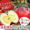 りんご こうとく約2kg(9〜10玉)小玉 蜜入り山形県朝日町産