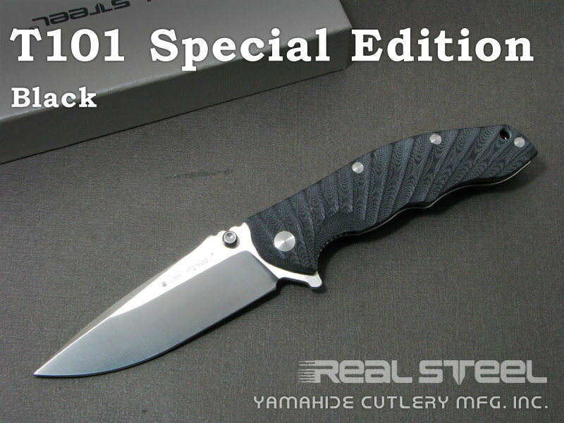 Real Steel/リアルスチール #7523 T101 スペシャルエディション ブラック 折り畳みナイフ