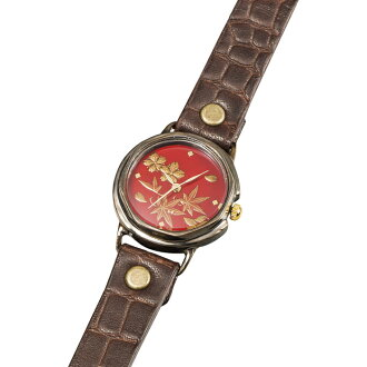 Watch Lady's lacquer art handwriting watch Lady's spring and summer SEIKO move domestic production Yamanaka coat adult entrance into a school of higher grade rain jacket bridge rain jacket Bridge conveying thank you