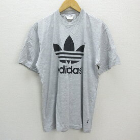 k■90年代■アディダス/adidas ビッグトレフォイルロゴ ヴィンテージTシャツ【L】灰色/MENS/73 【中古】