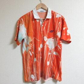 ヨネックス/YONEX総柄デザイン半袖ポロシャツ【M】橙/速乾【中古】