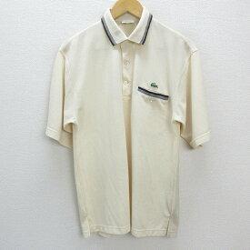 y■ラコステ/LACSTE ポケット付き 半袖ポロシャツ■クリーム【 4 】MENS/レトロ/63【中古】