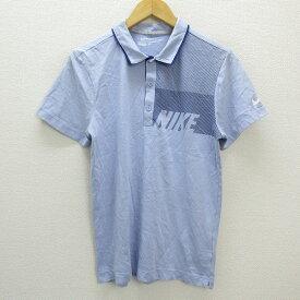 y■ナイキゴルフ/NIKE GOLFロゴプリント 半袖ポロシャツ■水色【メンズS】MENS/57【中古】