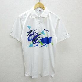 A■ニッタク/NITTAKU卓球ゲームシャツ/ポロシャツ■白【L】MENS【中古】