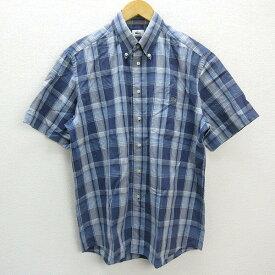 X★ ラコステ/LACOSTE タータンチェック柄 半袖BDシャツ【4】紺MENS/26【中古】
