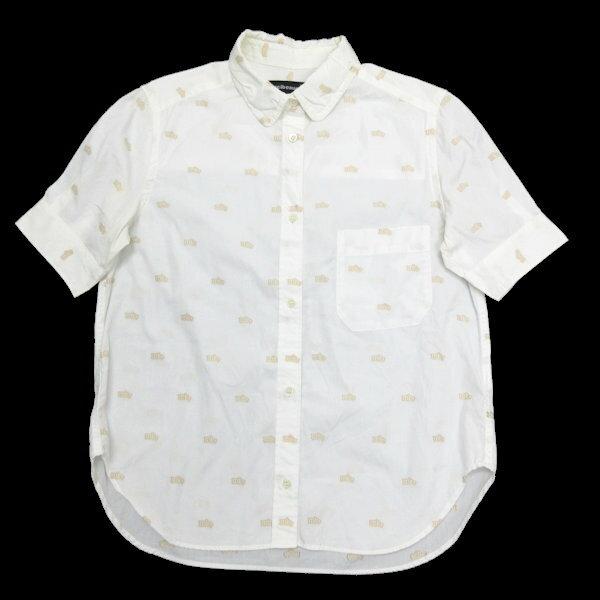 メルシーボークー/mercibeaucoup 総柄刺繍 半袖シャツ【1】★白LADIES【中古】