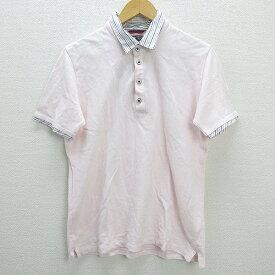 W■ビームスハート/BEAMS HEARTレイヤード半袖ポロシャツ■薄ピンク【L】MENS/27【中古】