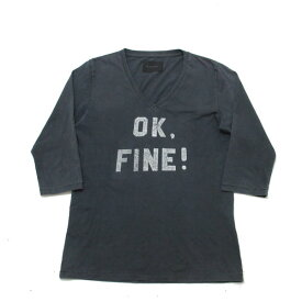 ラウンジリザード/LOUNGE LIZARD七分袖VネックTシャツ【3】★灰【中古】
