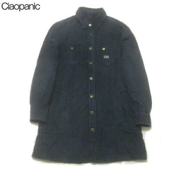チャオパニック/CIAO PANICストライプ柄シャツワンピ【F】紺【中古】