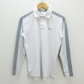 T■アンダーアーマー/UNDER ARMOUR速乾 長袖トレーニングポロシャツ■白【メンズXS】MENS/Y14【中古】