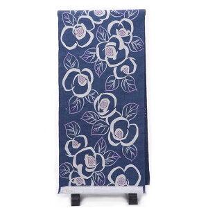 ゆかた反物 女性 そしてゆめ 注染 ブランド浴衣 日本製 青 椿 オプションにてお仕立ても承ります