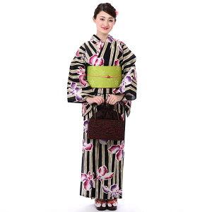 浴衣 セット ゆかた セット レディース 3点セットそしてゆめ 綿絽 たて絽 手捺染 日本製 大人ゆかた 黒 菖蒲