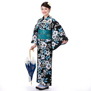 浴衣 レディース セット そしてゆめ 大人ゆかた 綿絽 たて絽 手捺染 3点セット 涼しい 日本製 黒地椿