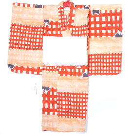 子供浴衣 ツモリチサト 女の子 5〜6才 110cm 兵児帯プレゼント オレンジ 猫
