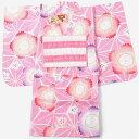 子供浴衣 女の子 110cm 5〜6才 2点セット ピンク 桜 麻の葉