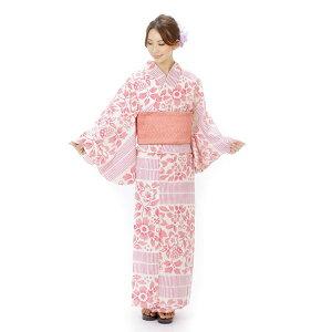 そしてゆめ浴衣+そしてゆめ半巾帯+下駄 3点セット レディースゆかた オフホワイト ピンク