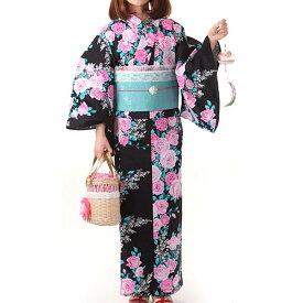 浴衣 レディース 大人 松田聖子 seiko matsuda 仕立て上がりゆかた 黒 バラ オプションでお得な3点セットも選べます
