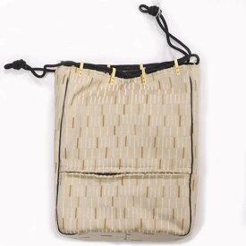 信玄袋 メンズ 大きめサイズ ファスナー付き フランス生地使用 巾着 男性用 着物バッグ 薄茶