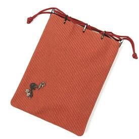 信玄袋 巾着 メンズ 紳士 男 浴衣巾着 オールシーズン 茶 縞 ストライプ