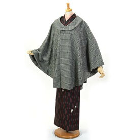 和装コート ポンチョ ケープコート 着物コート ケープマント 創世舎 おとづき商店 日本製 千鳥 チェック