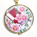 懐中時計 着物に似合う存在感 京七宝 源氏物語に恋する懐中時計 若紫(赤) 記念品・プレゼントにも