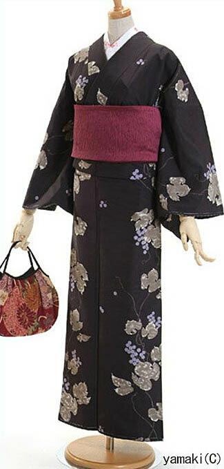 洗える着物 袷  クラシカルな美人着物♪ そしてゆめブランド ぶどう柄  黒地で紬の様な風合い★着くずれしにくい