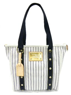 LOUIS VUITTON Louis Vuitton M40132 Antigua Hippo MM stripe White / Navy
