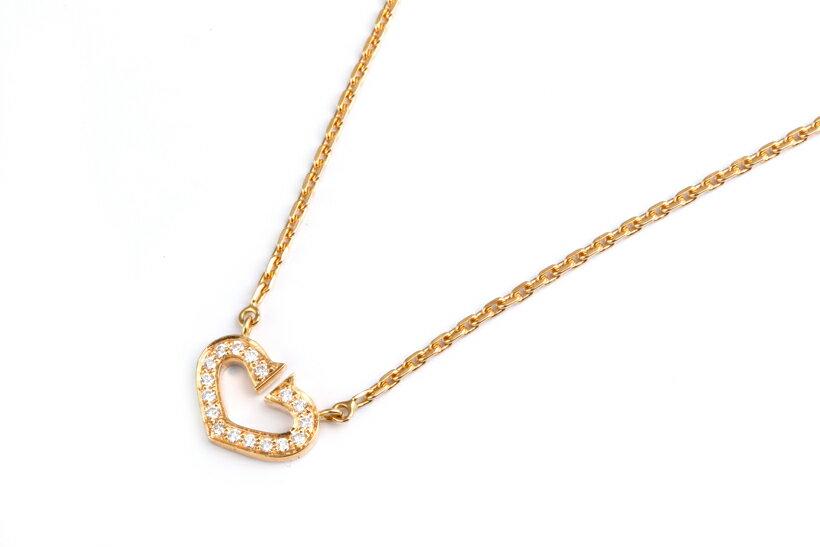 【美品】 Cartier カルティエ 750YG Cハートネックレス ダイヤモンド入り 【中古】