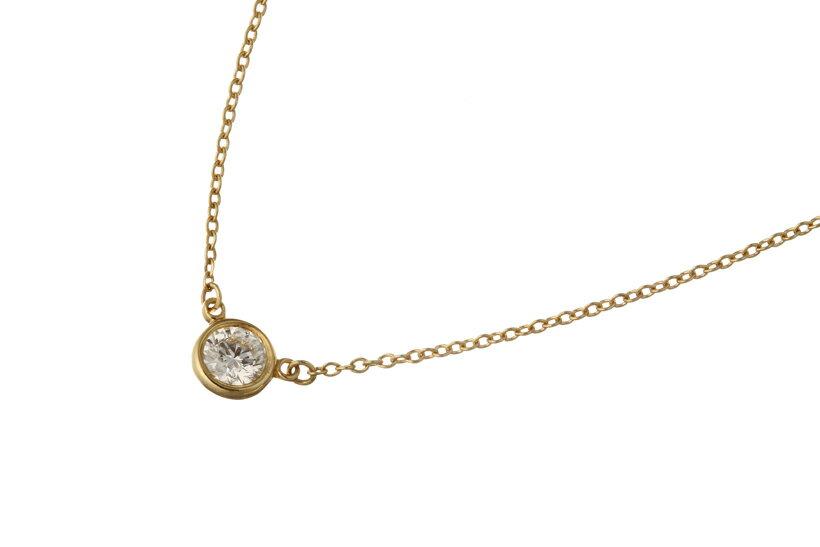 【美品】 TIFFANY ティファニー バイザヤード ネックレス ダイヤモンド 0.26ct 750YG【中古】