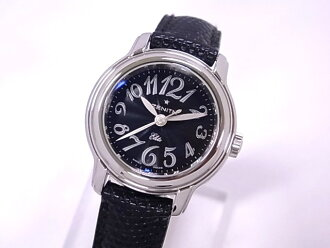 ZENITH Zenith 03.1220.67 baby star elite ladies SSx leather black dial automatic